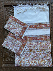 3pc Boho Indi Bedcover Cotton Bedspreads Table Tapestry Floral White Red Printed Picnic Blanket - mogulgallery