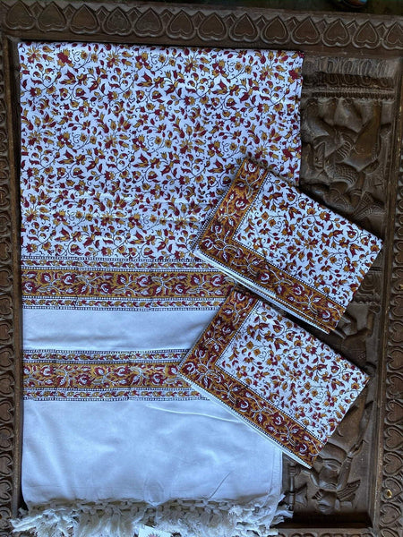 2 Pcs Pillow Cover Set With Bed sheet Indian Handmade Cotton Bed Cover Yellow White Floral Print Bed Sheet Cotton Bedding Blanket Throw - mogulgallery