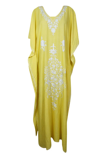 Womens Kaftan, Yello Maxi Dresses, BOHO Resort Wear, Gift For Mom, Housedresses Lemon Yellow Floral Embellished Caftan Lounger One Size L-XL - mogulgallery