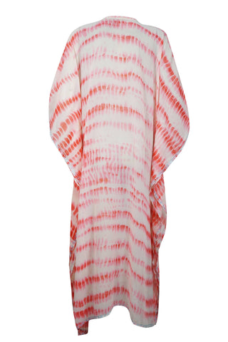Womens Kaftan Maxi Dress, Bohemian Kaftan, Resort Wear, Pink White Embroidered Long Caftan Dresses 4XL - mogulgallery