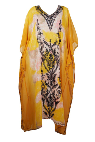 Women's Kaftan Maxi Dress, Orange Sheer Long Caftan Dress, Lightweight Flowy, Bohemian Beach Kaftan, Gift For Mom 4XL - mogulgallery