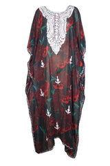 Womens Kaftan Maxi Dress,  Georgette Embroidered Resort Wear Dresses, Black Red Rose Printed Sheer Dress 4X - mogulgallery