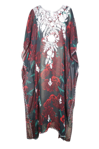 Womens Kaftan Maxi Dress, Rose Floral Print Kimono Sleeves Beach Cover Up Resort Wear, Sleepwear Summer Holiday Kaftan 4X - mogulgallery