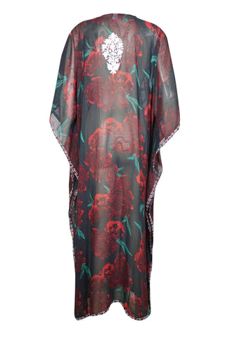 Womens Kaftan Maxi Dress, Black Red Handmade Floral Embroidered Caftan, Beach Cover Up, Loose Stylish Maxi Kafan Dresses ONESIZE L/4XL - mogulgallery