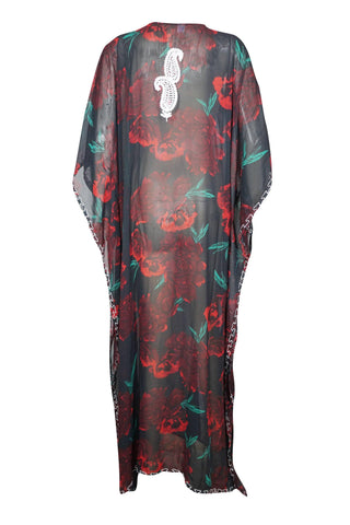 Women Kaftan Maxi Dress, Black Floral Print Beachwear Bikini Cover-Up Embroidered Maxi Dresses 4XL - mogulgallery