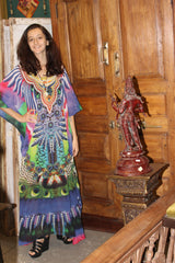Womens Caftan Maxi Dress, Blue White Paisley Print Embroidered Kaftan Dress, Summer Holiday Dresses 4XL - mogulgallery