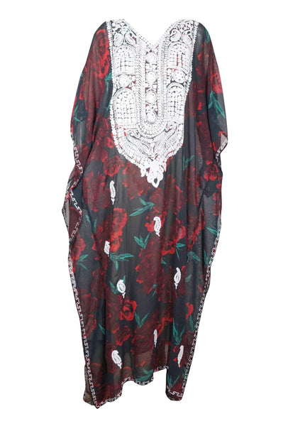 Women's Caftan Maxi Dress, Kimono Dress, Black Floral Print Summer Evening Party Dresses ONESIZE L/4X - mogulgallery