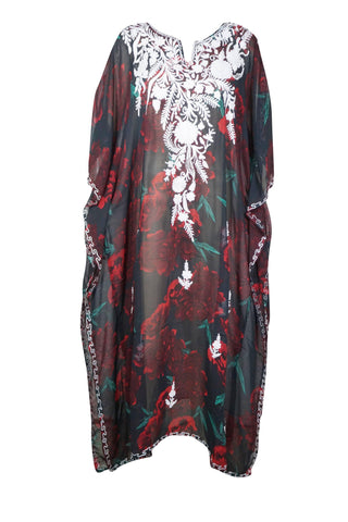 Women Caftan Maxi Dress, Casual V Neck Loose Beach Wear Split Maxi Dresses, Black And Red Embellished Dresses Onesize-L/4XL - mogulgallery