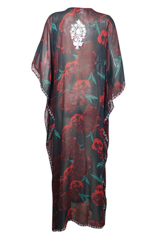 Womens Kaftan Maxi Dress, Beach Cover Up, Georgette Embroidered Dresses, Black Red Rose Printed Sheer Caftan Dresses Onesize L-4X - mogulgallery