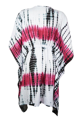 Womens Caftan Dress, Knee Length Short Tie Dye White Caftan Tunic Cover Up Resort Wear Tunic Dresses Onsize S-2X - mogulgallery