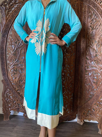 Womens Tunic Long Dress, Aqua Blue Solid Georgette Gypsy Embroidered kurti Front Zip Bohemian Chic Tunic Dresses M - mogulgallery