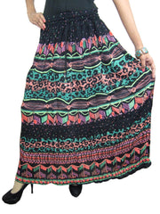 Womens Long Skirt Colorful Gypsy Black Printed Crinkle A-line Cotton Boho Festive Skirts M - mogulgallery