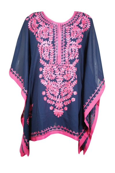 Womens Beach Boho Kaftan, Knee Length Dark Blue Pink Embroidery Caftan, Beach Cover up Georgette loose Dress S-L - mogulgallery