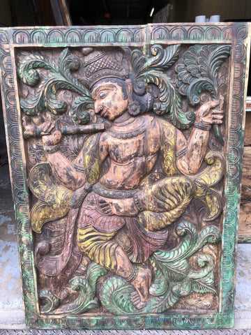 Fluting KRISHNA Carving Panel Vintage Wood Carved Krishna, Old WORLD ELEMENTS Wall Sculpture, Yoga Room, Boho Decor - mogulgallery