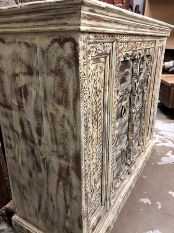 Rustic Carved Sideboard, Limewash Patina, Unique Old World Elements Cabinet, TV Media Chest, Hall Console, Farmhouse Kitchen Cabinet Storage - mogulgallery