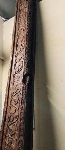 18c Architectural Veranda Beam Antique Teak Floral Carved Mediterranean FARMHOUSE Design - mogulgallery