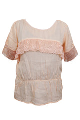 Bohemian Blouse, Boho Gypsy Chic Peach Top, Handmade Lace Work  Blouse M