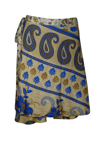 Women Short Wrap Skirt, Summer Beach Coverup Magic skirts, Blue Beige Floral Printed 2 Layer Reversible Silk Sari Wrap Skirts One Size