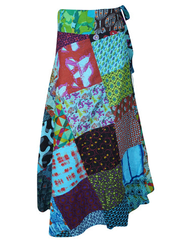 Bohemian Wrap Around Skirt in Mixed Blue Floral Patchwork Long Length Hippie Skirts One Size