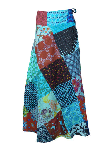 Womens Wrap Around Skirt Long Cotton Patchwork Skirt Hippie All Season Skirts One size
