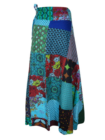 Womens Wrap Skirt, Bohemian Wrap Skirt, Blue Patchwork Printed Cotton Cover Up Summer Skirts One size