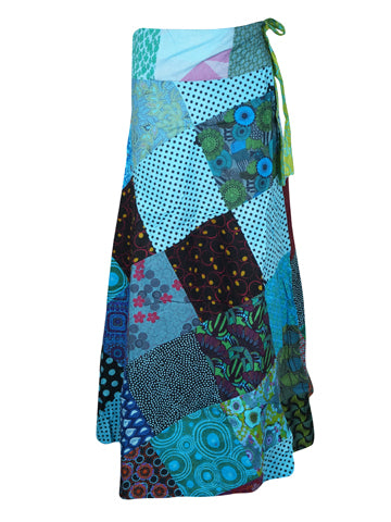 Womens Wrap Skirt, Patchwork Wrap Around Long Cotton Skirt, Blue Magic Skirts One size