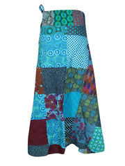 Womens Wrap Skirt, Adjustable Cotton Skirt, Multicolor Travel Clothing, Patchwork Design One Size Fits To All Skirt One size