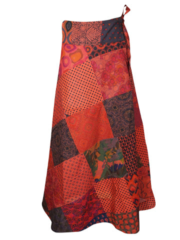 Womens Wrap Skirt, Bohemian Gypsychic Wrap Skirt, Red Patchwork Printed Cotton Cover Up Summer Skirts One size