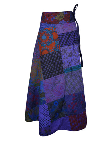 Womens Wrap Skirt, Bohemian Indian Ethnic Patchwork Green Print Cotton Long Maxi Wrap Around Skirt One size