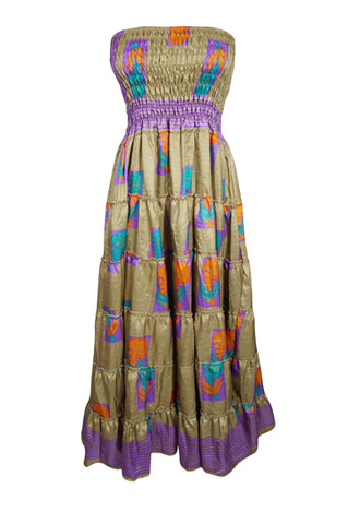 Women Maxi Skirt, Strapless Dresses Green Purple Floral Printed Dress, Summer Beach skirt, Recycled Sari Dresses S/M