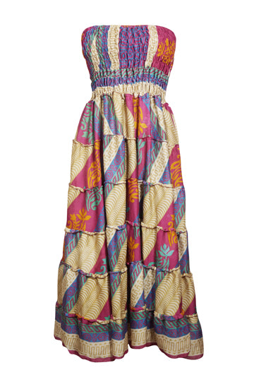 Womens Maxi Skirt, Multicolor Strapless Dress, Floral Printed Recycled Sari Summer Bohemian Skirt S/M