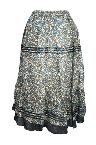 Womens Midi Skirt, Gray Floral Printed Summer Comfy Lightweight Hippie Midi Skirt A-Line Flared Gypsy Skirts S/M