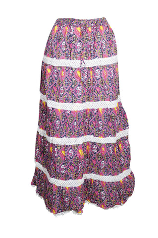 Bohemian Boho Chic Womens Maxi Skirt, Pink Blue Printed Cotton Bohemian Gypsy chic Skirts S/M
