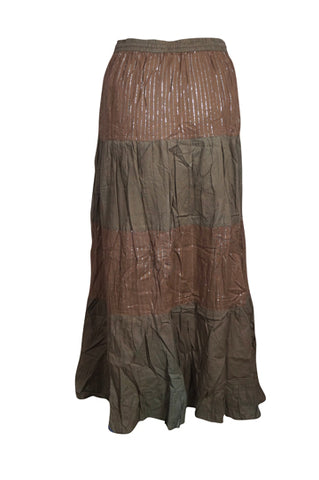 Women's Long Skirt, Chocolate Brown Sequin Work Design A-Line Boho Chic Gypsy Hippie Skirts S/M