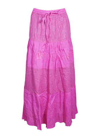 Womens Cotton Embroidered Maxi Skirt, Fuchsia Pink Casual Long Skirts Floral Hippy Summer Dancing Skirts S/M