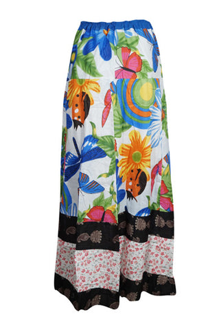 Womens Bohemian Gypsy Chic Tiered Long Skirt Printed Cotton Comfy Summer Maxi Skirts S/M/L