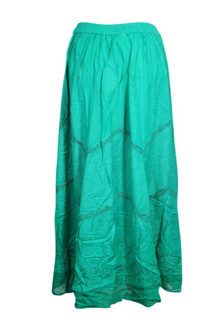 Women's Maxi Skirt Sea Green Embroidered Stonewashed Rayon Festival Boho Chic Summer Comfy Long Skirts M-L