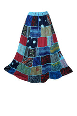 Womens Patchwork Long Skirt, Bohemian Gypsy Chic Blue Printed Boho Chic Hippy Rayon Maxi Skirts S/M