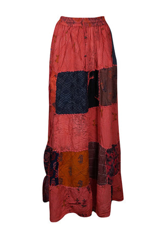 Womens Cotton Patchwork Skirt, Elastic Waist Red Vintage Indian Style Handmade A-Line Long Skirts S/M