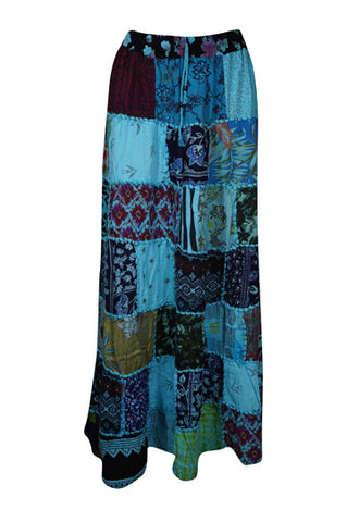 Womens Long Skirt, Floral Blue Print Patchwork Rayon Maxi Skirt Elastic Waist Swing Skirts Bohemian Long Summer Chic S/M