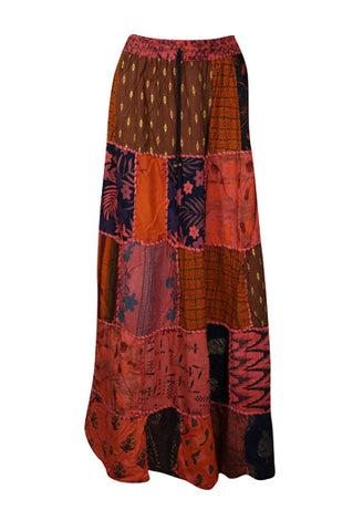 Womens Patchwork Skirt, Long Elastic Waist Cotton Red Vintage Indian Style Handmade A-Line Long Skirts M/L