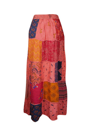 Womens Maxi Skirt, Peach Summer Skirt, Gujarati Patchwork Handmade Vintage Boho Chic Long Skirts S/M