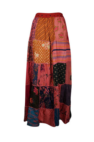 Womens Patchwork Skirt, Long Elastic Waist Cotton Red Vintage Indian Style Handmade A-Line Long Skirts S/M