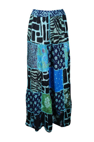 Womens Maxi Skirt, Blue Summer Skirt, Gujarati Patchwork Handmade Vintage Boho Chic Long Skirts S/M