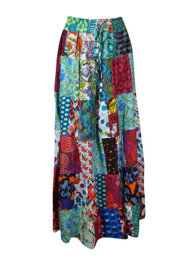 Long Patchwork Skirt for Women, Cotton Tiered Flared Gypsy Boho Maxi Retro Floral Hippie Elasticated Waist Summer Skirts S/M