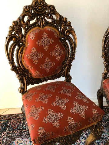 Vintage Gilted Armchair Pair , Old World Floral Carved Sofa Chairs, Hand Carved Wood, UNique Masterpiece creation