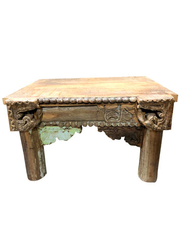 Antique RUSTIC Side Table Hand Carved Reclaimed Wood Occasional Accent Table