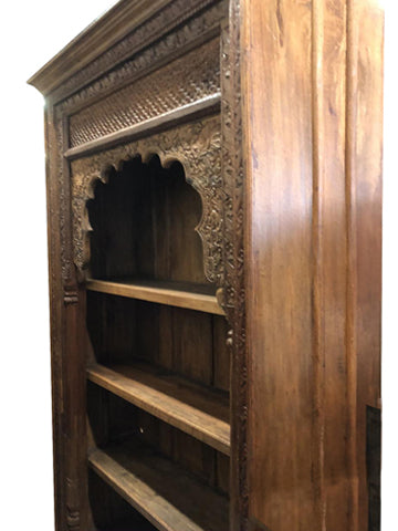 HUGE Rustic Arched Bookcase, Intricate Carved Tall Display, Carved Wood Book Shelf Boho Farmhouse Home Decor