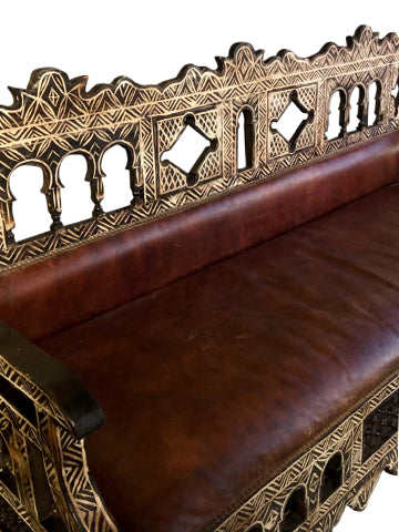 Antique Moorish Sofa, Bench, Carved Wood Leather Sofa Red Beautiful Carved Eclectic Design Interior Decor