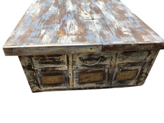 Beachy Rustic Distressed Coffee Trunk Table Hand Carved Chest Natural Wood Table Mediterranean Decor